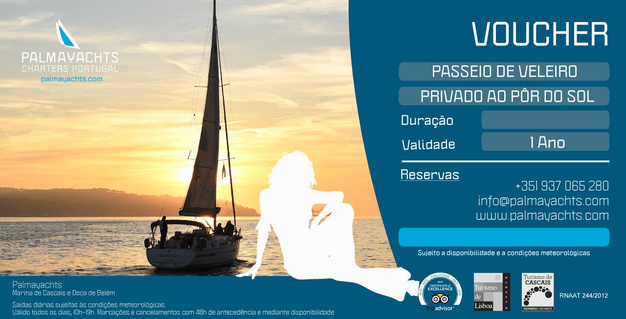 Gutschein - Private Segelfahrt bei Sonnenuntergang in Lissabon